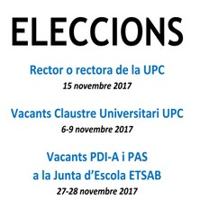 ELECCIONS RECTOR O RECTORA - VACANTS CLAUSTRE UPC I JUNTA ESCOLA ETSAB
