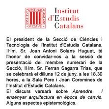 FERRAN SAGARRA: APRENDRE I ENSENYAR ARQUITECTURA. DISCURS D'INGRÉS AL IEC