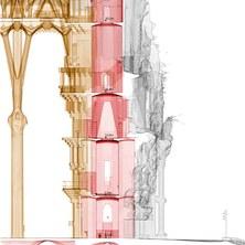 La façana del Naixement de la Sagrada Família, en 3D