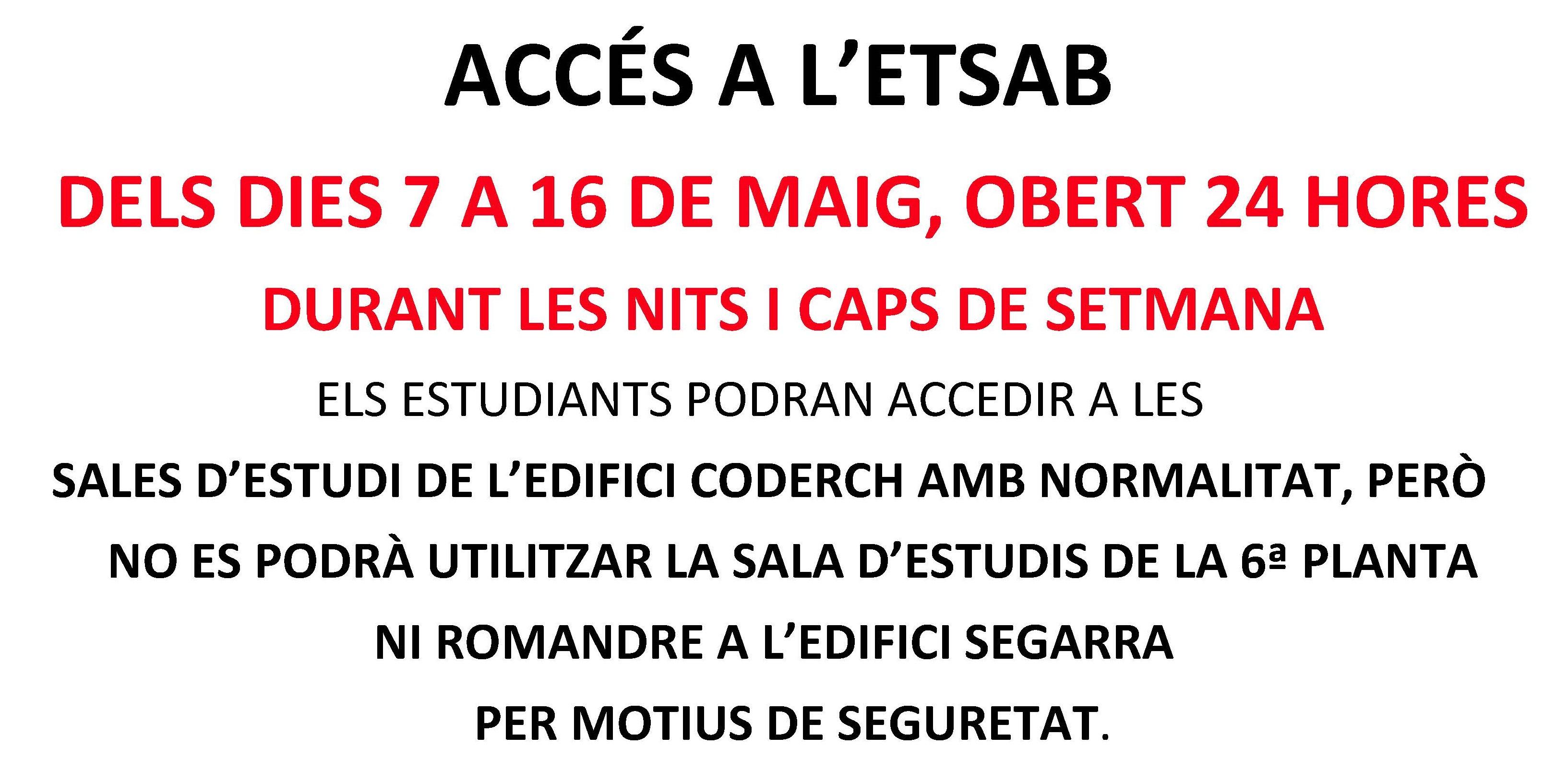 accessos especials maig 18